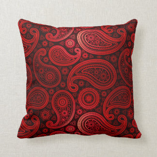 Paisley Deluxe | ruby red Throw Pillow