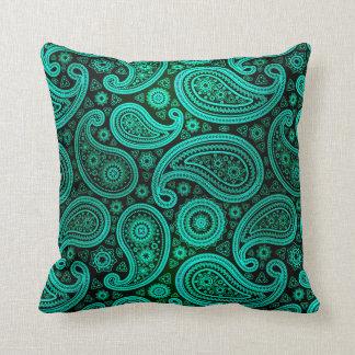 Paisley Deluxe | teal Throw Pillows