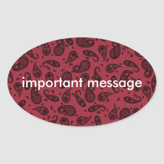 Paisley Design Customize color background & Text Oval Sticker