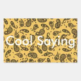 Paisley Design Customize color background & Text Rectangular Sticker