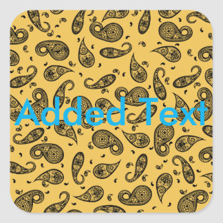Paisley Design Customize color background & Text Square Sticker