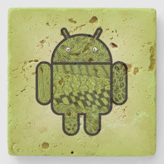 Paisley Doodle Character for Android™ Stone Beverage Coaster