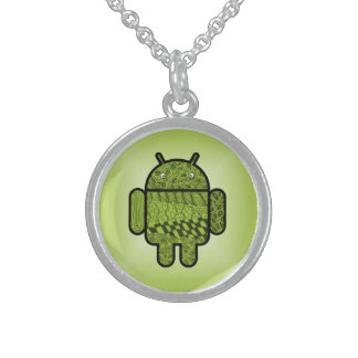 Paisley Doodle Character for Android™ Sterling Silver Necklace