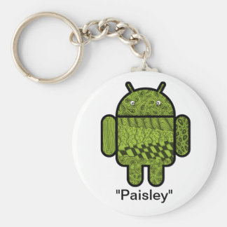 Paisley Doodle Character for the Android™ robot Basic Round Button Keychain