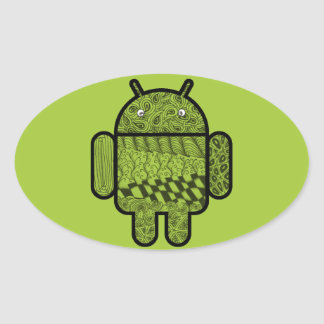 Paisley Doodle Character for the Android™ robot Oval Sticker
