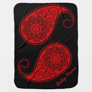 Paisley - el rojo y Negros personalizan Mantas De Bebé
