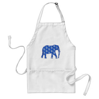 Paisley elephant - cobalt blue and white adult apron