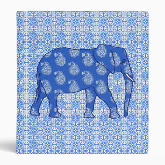 Paisley elephant - cobalt blue and white vinyl binder