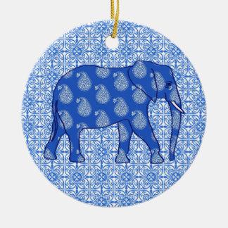 Paisley elephant - cobalt blue and white ceramic ornament