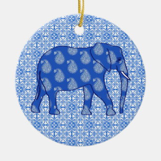 Paisley elephant - cobalt blue and white Double-Sided ceramic round christmas ornament