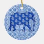 Paisley elephant - cobalt blue and white ornaments
