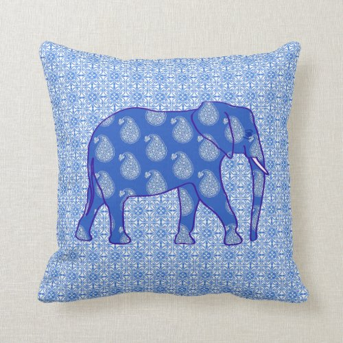Paisley elephant - cobalt blue and white throw pillow