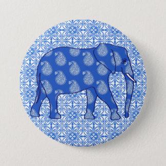 Paisley elephant - cobalt blue and white pinback button