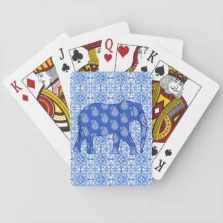 Paisley elephant - cobalt blue and white playing cards