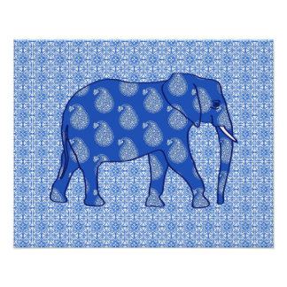 Paisley elephant - cobalt blue and white poster