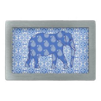 Paisley elephant - cobalt blue and white rectangular belt buckle