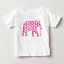 Paisley elephant - ice pink and fuchsia baby T-Shirt