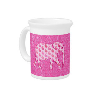 Paisley elephant - ice pink and fuchsia drink pitcher