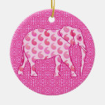 Paisley elephant - ice pink and fuchsia christmas tree ornaments
