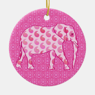Paisley elephant - ice pink and fuchsia Double-Sided ceramic round christmas ornament