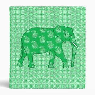 Paisley elephant - jade green and white binder