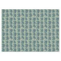 Paisley Elephant Rows on Sage Green Tissue Paper