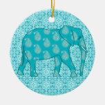 Paisley elephant - turquoise and aqua Double-Sided ceramic round christmas ornament
