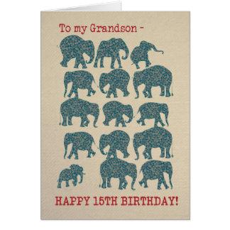 Paisley Elephants 15th Birthday Card for Grandson