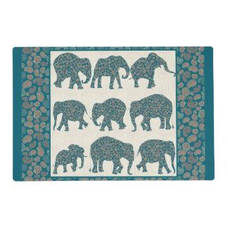 Paisley Elephants on Beige, Border Placemat