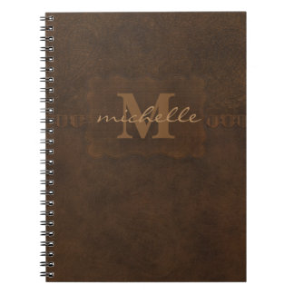 Paisley Embossed Leather Monogram Notebook