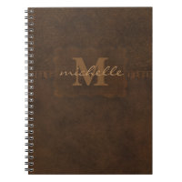 Paisley Embossed Leather Monogram Spiral Notebook