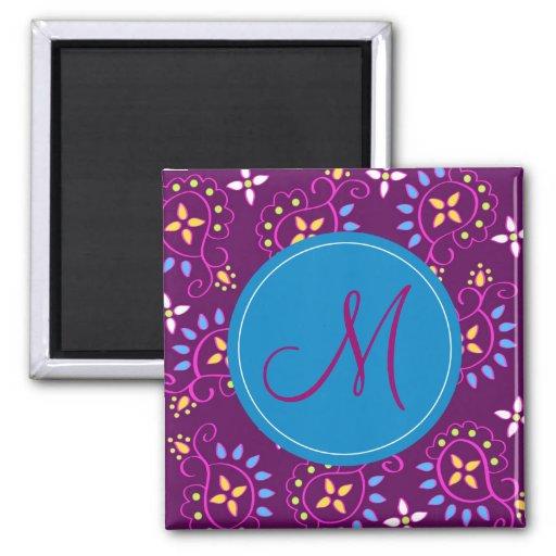 """Paisley en púrpura con el monograma de """"M"""" Imán De Frigorífico"""