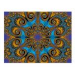 paisley flake fractal pattern postcard