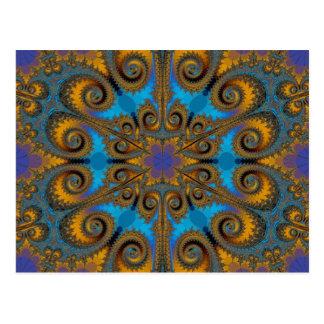 paisley flake fractal pattern post cards