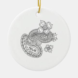 Paisley Floral Ceramic Ornament