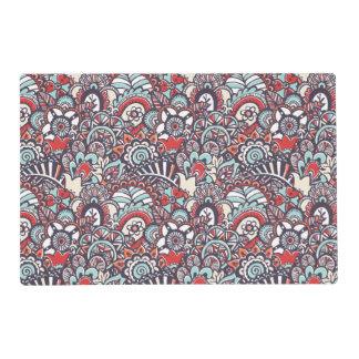 Paisley Floral Doodle Pattern Placemat