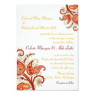 """Paisley Floral Gold Red Orange Indian Wedding 5"""" X 7"""" Invitation Card"""