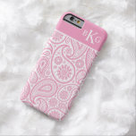 Paisley Floral Pattern & Monogram   Pink Barely There iPhone 6 Case