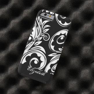 Paisley floral pattern swirl black white tough iPhone 6 case