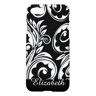 Paisley floral pattern swirl black white iPhone 8/7 case