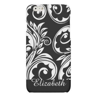Paisley floral pattern swirl black white matte iPhone 6 case