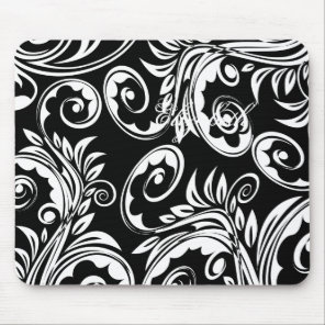 Paisley floral pattern swirl black white mouse pad