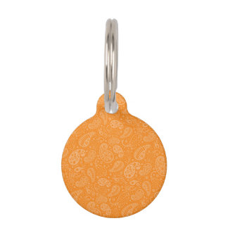 Paisley floral retra anaranjada placa para mascotas