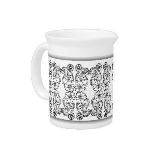 Paisley Flower (Black) Drink Pitcher