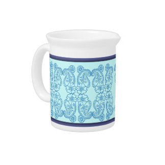 Paisley Flower (Blue) Beverage Pitcher