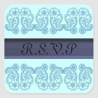Paisley Flower (Blue) Square Sticker
