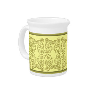 Paisley Flower (Gold) Beverage Pitcher