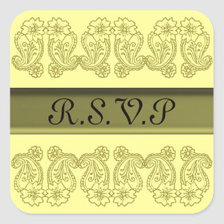Paisley Flower (Gold) Square Sticker