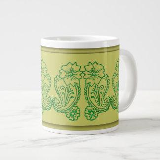 Paisley Flower (Green) Large Coffee Mug