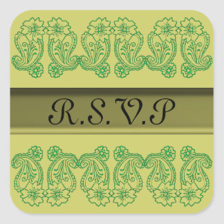 Paisley Flower (Green) Square Sticker